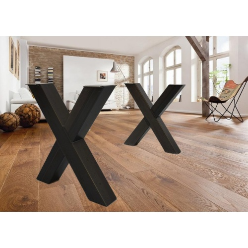 Pieds de table en x pieds de table en m tal for Table pied en x