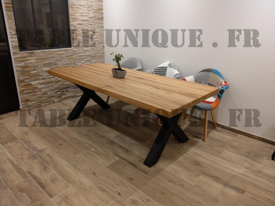 table de salle manger industrielle en vieux ch ne vendu. Black Bedroom Furniture Sets. Home Design Ideas