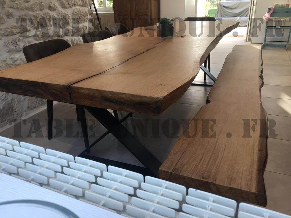 grande table de salle manger en tranche de ch ne vendu. Black Bedroom Furniture Sets. Home Design Ideas