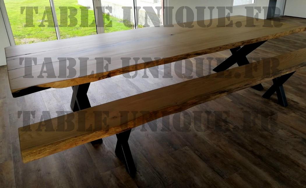 Grande table en chêne avec banc