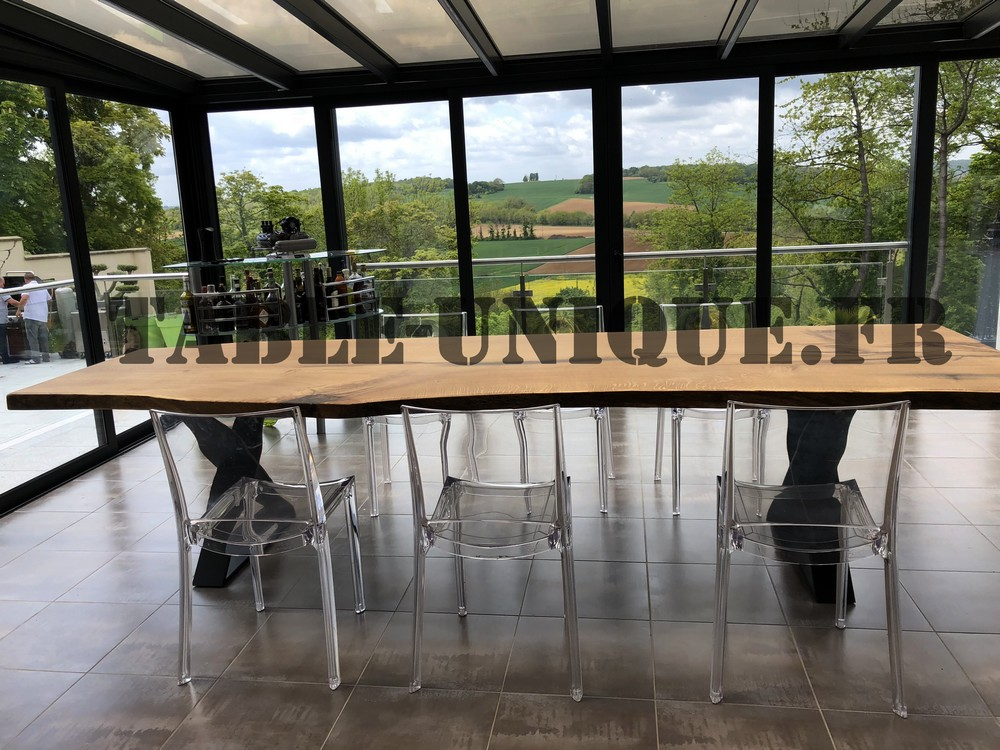 table de salle à manger en tronc d'arbre