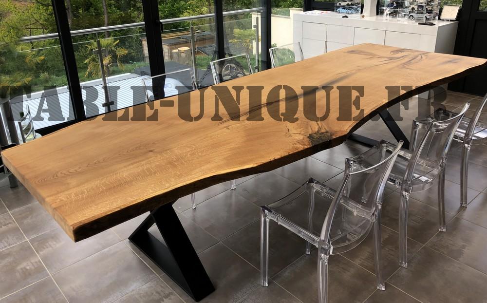 table de salle à manger en bois massif tronc d'arbre