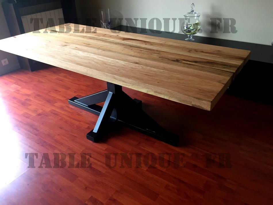 Table en ch ne avec pied central en m tal vendu 1300 euros table unique - Table chene pied metal ...