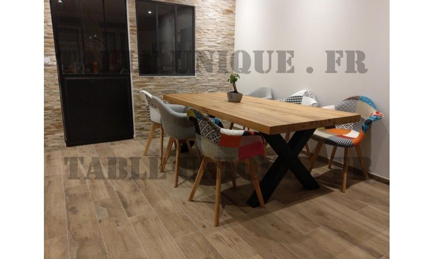 Table de salle manger industrielle en vieux ch ne vendu 1120 euros table unique - Salle a manger industrielle ...